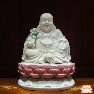 Tượng Phật Di Lặc sứ trắng 26cm