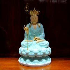 Tượng Địa tạng vương bồ tát bằng đá ngọc xanh thanh thiên 21kg