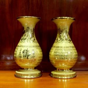 Lọ hoa thờ đồng vàng khắc chữ phật dát vàng