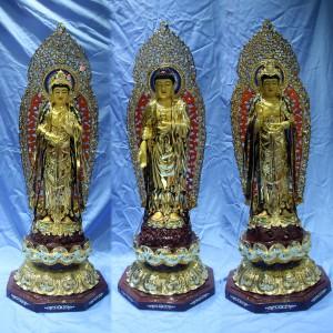 Bộ tượng tây phương tam thánh đồng dát vàng 105cm
