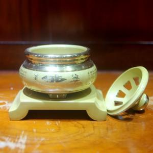 Lư trầm đồng dát vàng 105mm